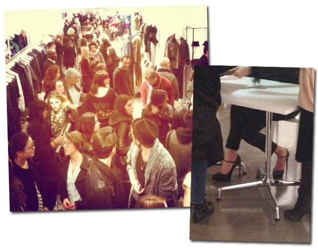 A fila também se estendeu pelo interior da loja. À direita, close no sapato da modelo (Foto: Reprodução/Instagram)