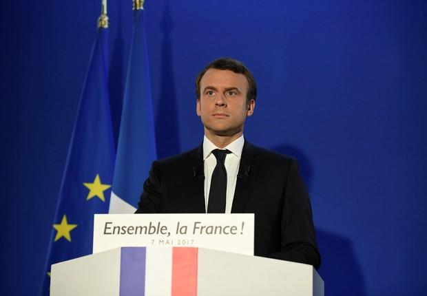 Emmanuel Macron faz discurso da vitória (Foto: Lionel Bonaventure/Pool/Reuters)