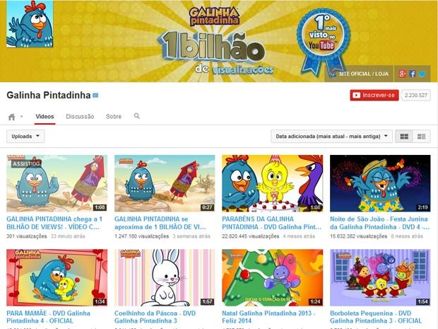 Canal da Galinha Pintadinha no YouTube bateu a marca de 1 bilhão de visualizações (Foto: Reprodução/YouTube/Galinha Pintadinha)