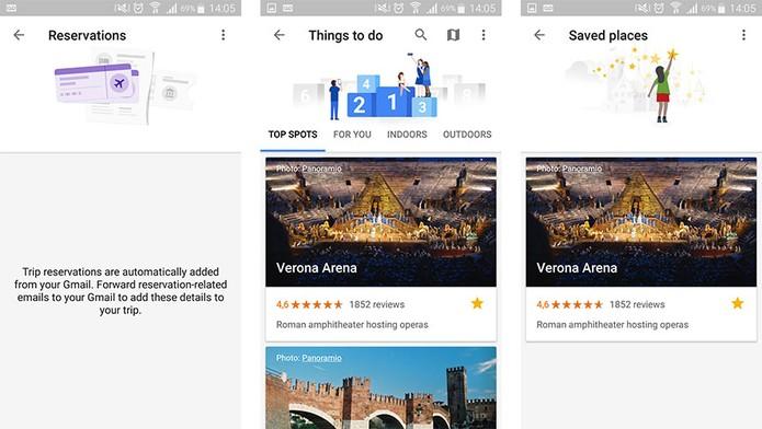Google Trips permite salvar dados de reservas e oferece sugestões para salvar de passeios (Foto: Reprodução/Barbara Mannara)