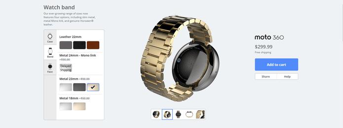 Opções de pulseira do Moto 360 (Foto: Reprodução/Barbara Mannara)