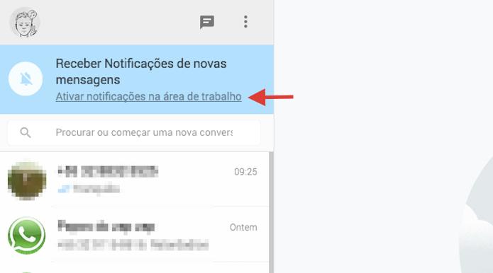 Iniciando a ativação das notificações na área de trabalho do WhatsApp Web (Foto: Reprodução/Marvin Costa)