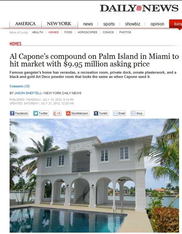 a mansão que pertenceu ao mafioso Al Capone foi colocada à venda por preço equivalente a R$ 20 milhões (Foto: Reprodução)