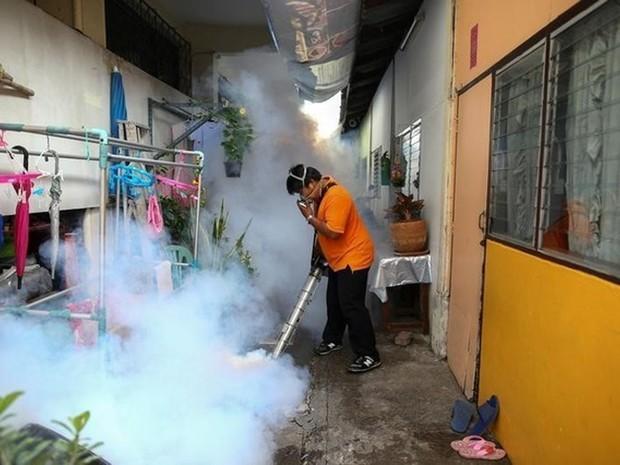 Funcionário municipal realiza fumigação contra mosquitos em Bangcoc (Foto: Reuters/Athit Perawongmetha/File Photo)