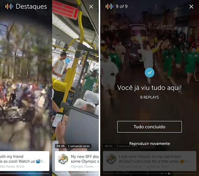 Periscope reproduzirá um resumo de todos os vídeos do canal (Foto: Reprodução/Elson de Souza)