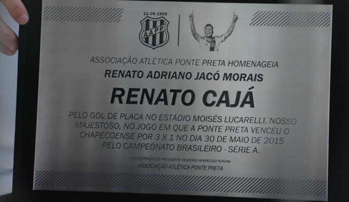 Placa Renato Cajá (Foto: Caio Maciel/EPTV)