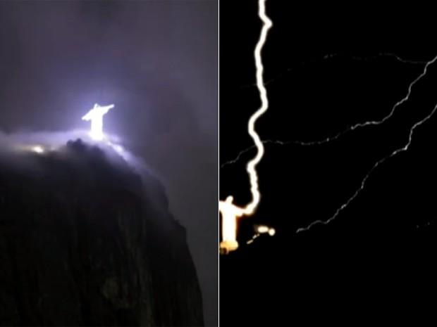 Raios atingem Cristo Redentor (Foto: Reprodução/GloboNews)