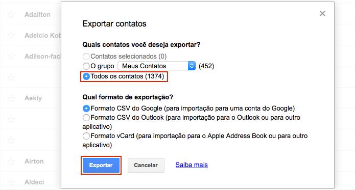 Escolhendo as opções de exportação dos contatos (Foto: Reprodução/Edivaldo Brito)