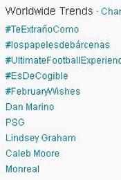 Trending Topics no Mundo às 17h20. (Foto: Reprodução)
