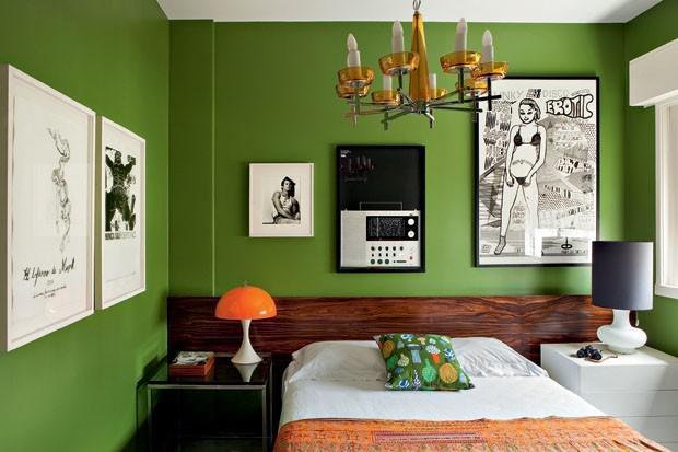 Decoração 10 quartos verdes e belos Casa Vogue Ambientes ~ Quarto Verde E Cinza