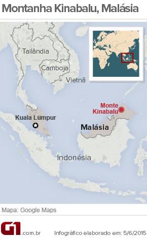 Monte Kinabalu Malásia mapa (Foto: Arte/G1)