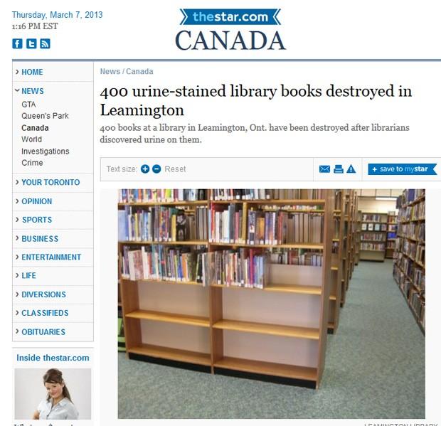 Responsável por urinar nos livros já destruiu 400 volumes e causou prejuízo de 100 mil (Foto: Reprodução)