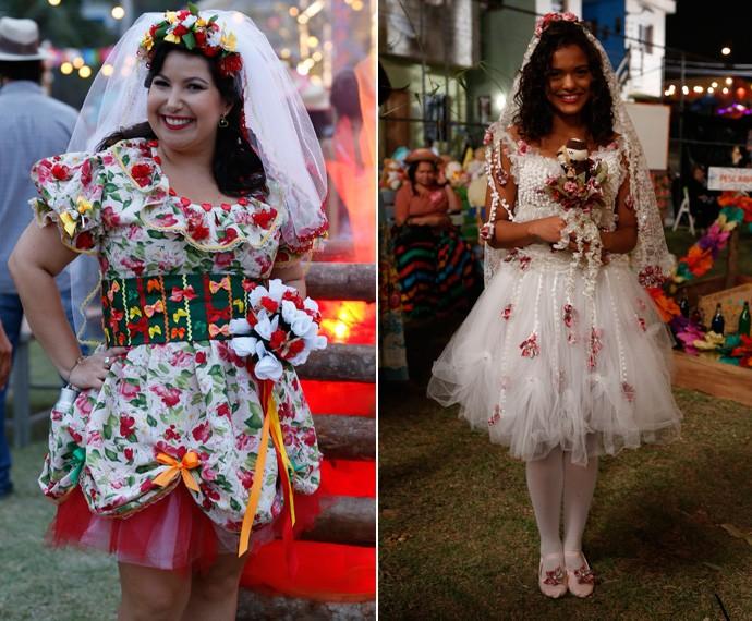 Claudete (Mariana Xavier) e Lilica (Thainá Duarte) apostaram nos buquês! (Foto: Ellen Soares / Gshow)