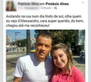 Patrícia Moreira posta foto com D'Alessandro em rede social  (Foto: Reprodução / Facebook)