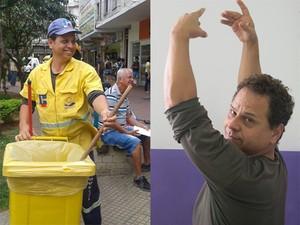Costa como gari e como bailarino (Foto: Arte/G1)