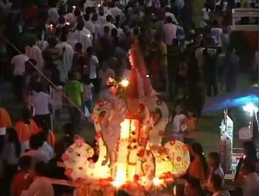 Começa os festejos da padroeira do municipio de Barreirinha, no Amazonas (Foto: Amazônia TV)