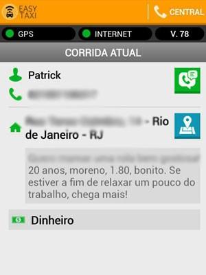 Rapaz que se identifica como Patrick se oferece para taxistas (Foto: Arquivo pessoal)