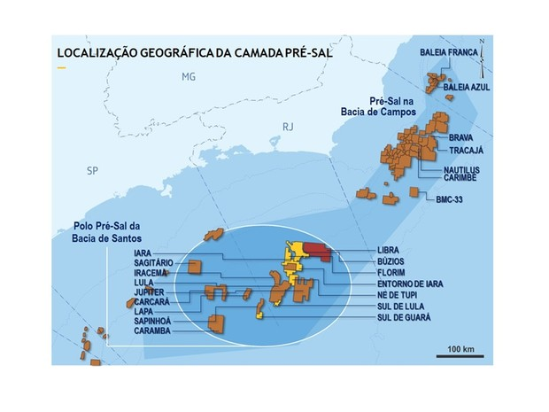 Mapa indica a localização geográfica da camada pré-sal (Foto: Petrobras / Divulgação)