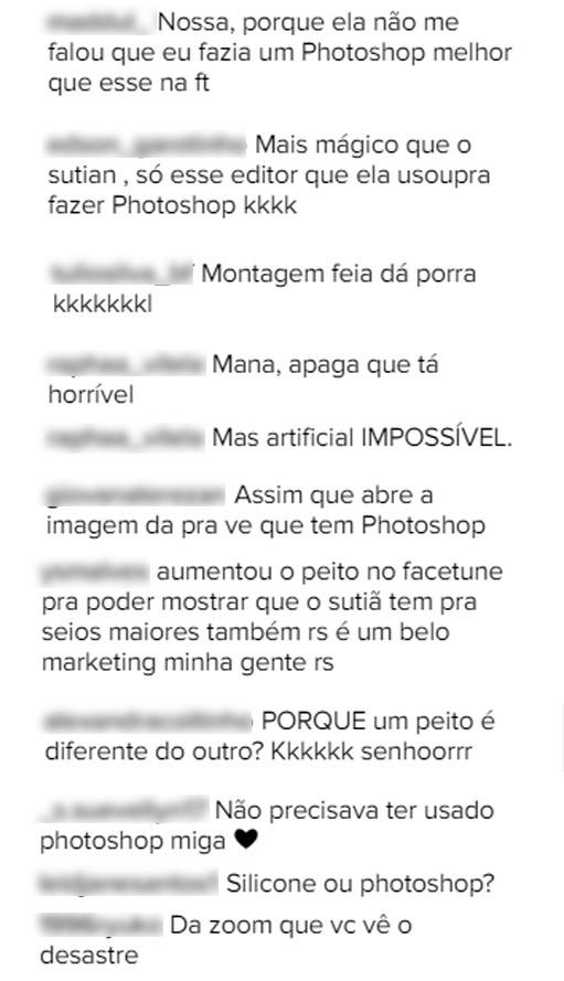 Comentários da postagem de Munik Nunes (Foto: Reprodução/Instagram)