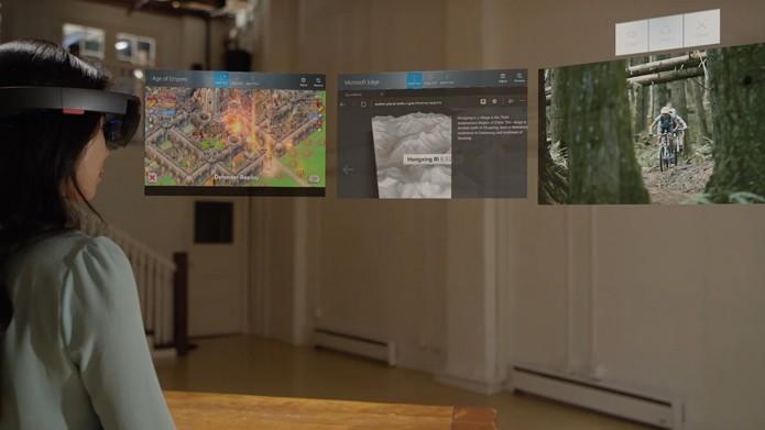 Dispositivos de realidade aumentada, como o HoloLens, devem aparecer ao longo de 2017 (Foto: Divulgação/Microsoft)