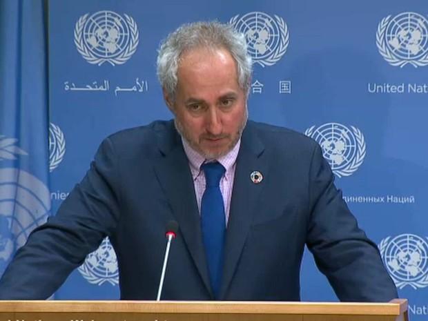 Stéphane Dujarric, porta-voz do secretário-geral da ONU, em coletiva de imprensa nesta segunda-feira (18) em Nova York (Foto: Reprodução/ UN Web TV)