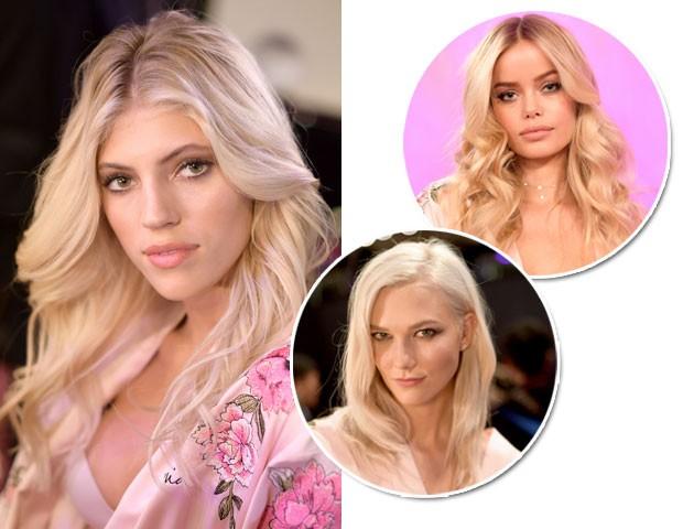 No Victorias Secret Fashion Show, as modelos Devon Windsor, Frida Aasen e Karlie Klos usaram o cabelo loiro uniforme (Foto: Getty Images)