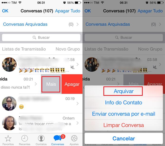 Arquive conversas no WhatsApp  (Foto: Reprodução/Juliana Pixinine)