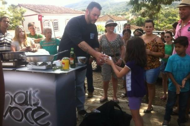 Equipe do Mais Você e Ogro Jimmy gravaram em Pirenópolis (Foto: TV Anhanguera)