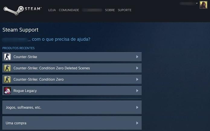 O reembolso é iniciado a partir da página de suporte do Steam (Foto: Reprodução/Cássio Barbosa)