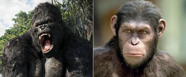 Andy Serkis como King Kong, em 2005, e como o chimpanzé César, em 2011 (Foto: Divulgação/Reprodução)