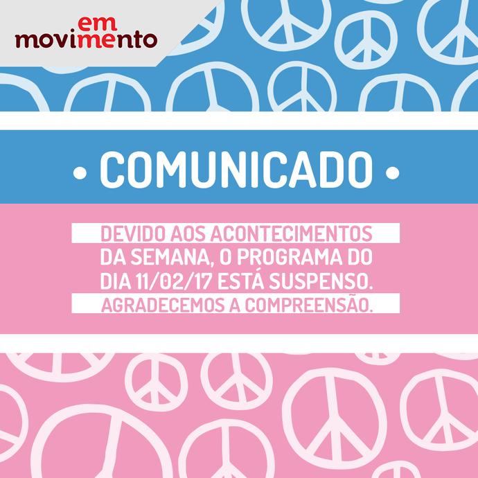 Comunicado de cancelamento do programa deste sábado, 11 (Foto: Divulgação / TV Gazeta ES)