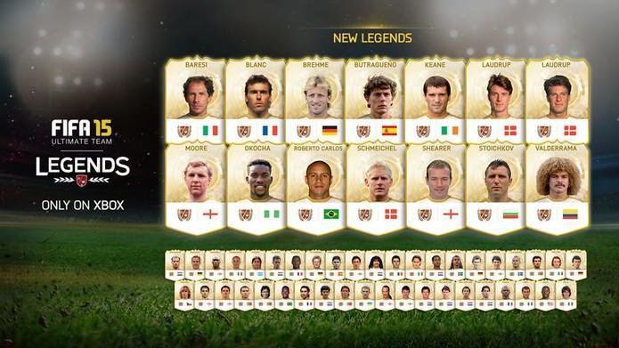 Lendas que serão adicionadas no Ultimate Team de Fifa 15 para Xbox One (Foto: Divulgação)
