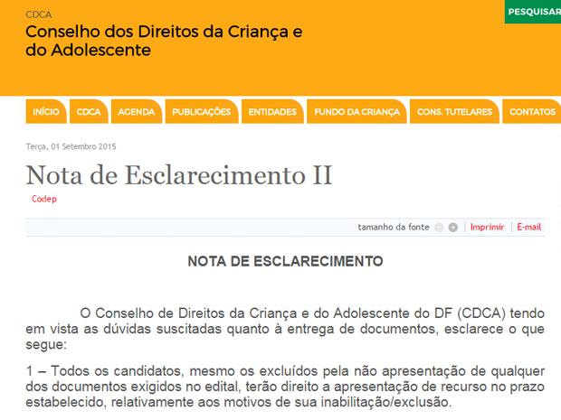 Nota publicada no site do conselho diz que candidatos têm prazo para recurso (Foto: Reprodução)