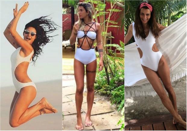Maiô branco: Thaila Ayala, Gabriela Pugliesi e Fernanda Motta usam peça com recortes no verão 2016 (Foto: Reprodução do Instagram)