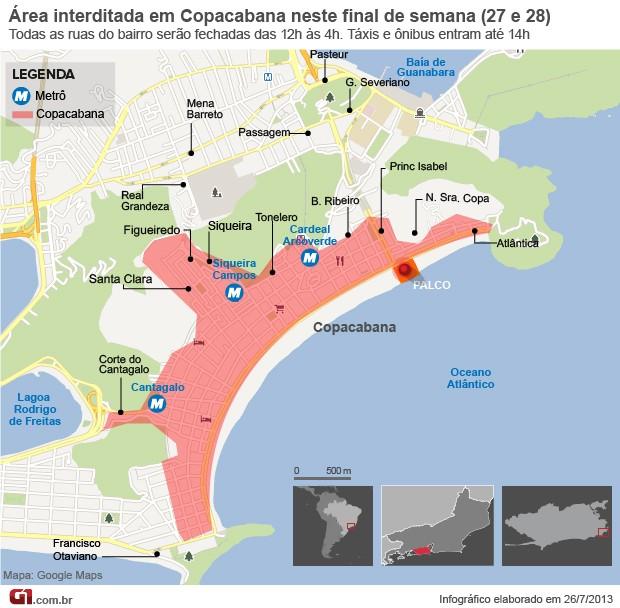 Mapa de interdição em Copacana: dia 26 e 27 (Foto: Arte G1)