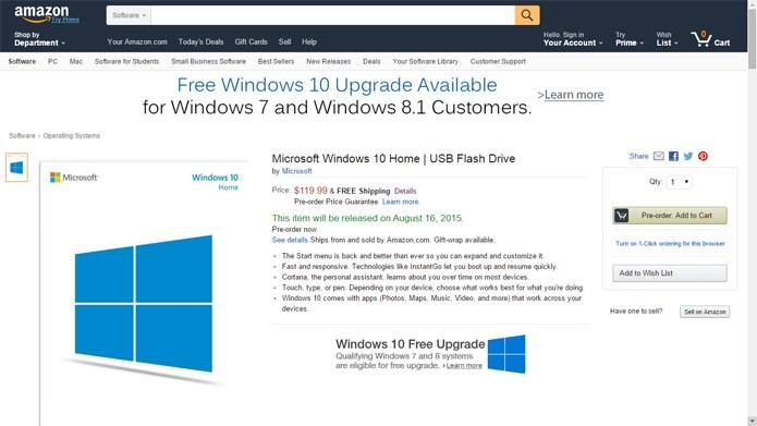 Site da Amazon oferece Windows 10 em formato USB (Foto: Reprodução/Amazon)