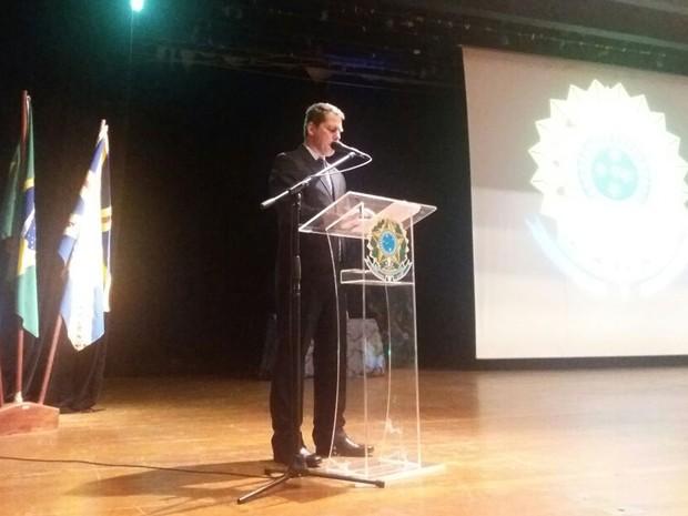 Juiz da 36ª Zona Eleitoral, David de Oliveira Gomes Filho, durante pronunciamento na diplomação dos eleitos em Campo Grande (Foto: Juliene Katayama/G1 MS)