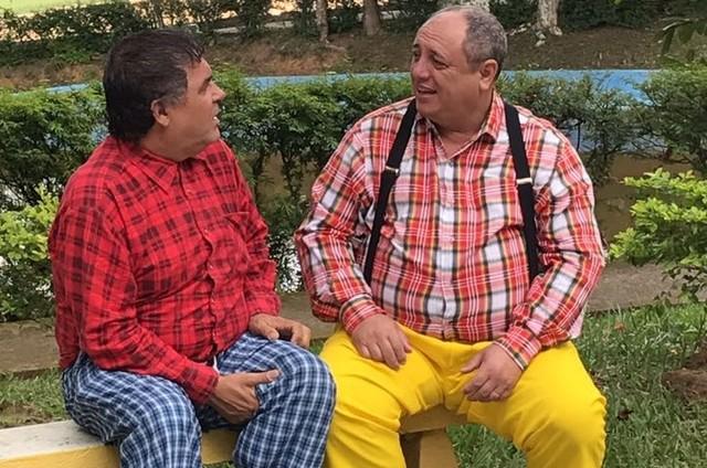 Nerso ( Pedro Bismark) e Gervasio ( Tarcisio Santos) nas gravações do longa (Foto: Divulgação)