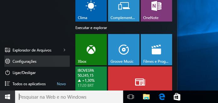 Acesse as configurações do Windows 10 (Foto: Reprodução/Helito Bijora)  (Foto: Acesse as configurações do Windows 10 (Foto: Reprodução/Helito Bijora) )
