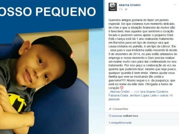 Campanha tenta arrecadar dinheiro para pagar exame de menino com câncer (Foto: Reprodução/Facebook)