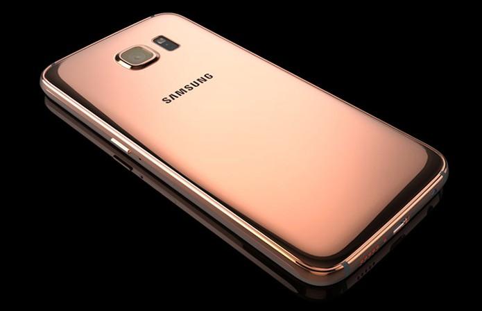 Versão em ouro rosado do novo smart da Samsung (Foto: Divulgação/Goldgenie)