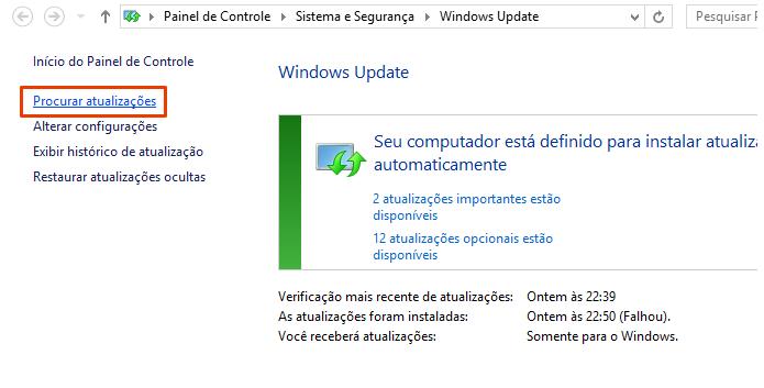 Execute o Windows Update (Foto: Reprodução/Paulo Alves)