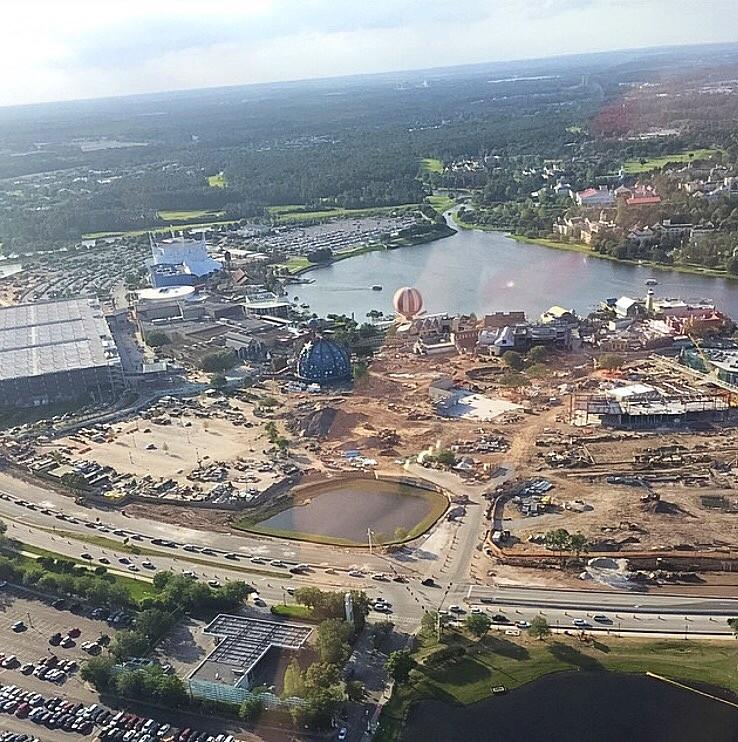 Disney Springs em construção vista aérea