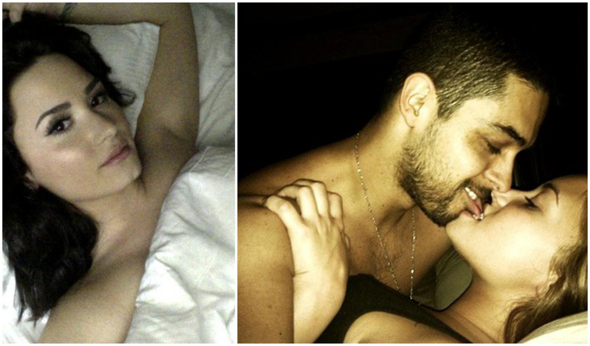 No início de abril, vários sites estrangeiros vazaram fotos íntimas que seriam do celular da cantora e atriz Demi Lovato. Ela aparece muito à vontade com o namorado, o ator Wilmer Valderrama. (Foto: Reprodução)