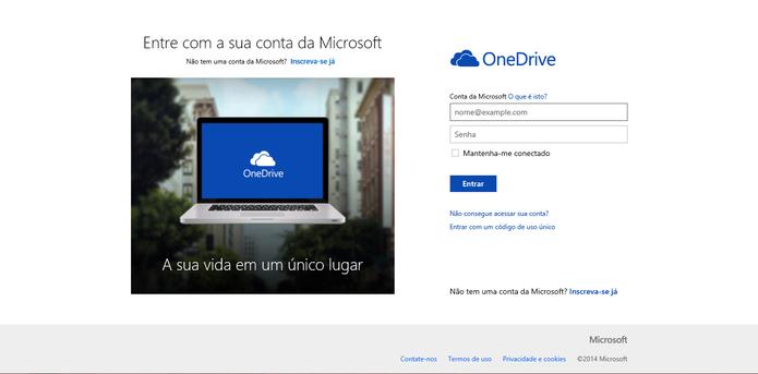 OneDrive pode ser acessado com login do Outlook, Live ou Hotmail (Foto: Reprodução/Elson de Souza)