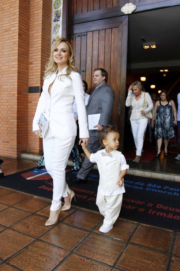 Eliana no batizado do filho (Foto: Paduardo / AgNews)