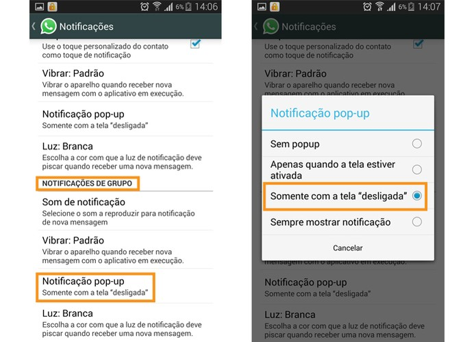 Também é possível ativar a notificação em pop-up para mensagens de grupos no WhatsApp (Foto: Reprodução/Barbara Mannara)