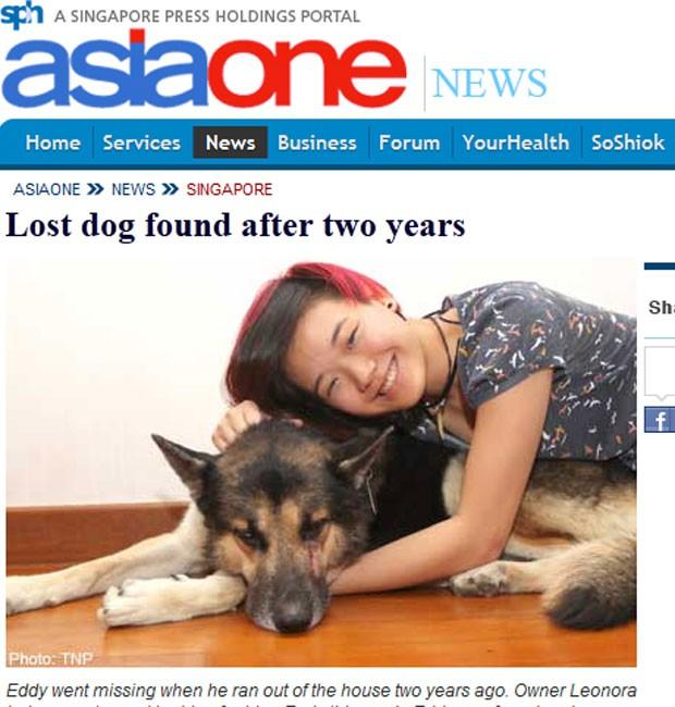 Leonora Lai com 'Eddy' que estava sumido havia dois anos. (Foto: Reprodução)