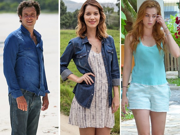 Caíque, Laura e Gaby sempre incluíam o azul no guarda-roupas (Foto: Gshow)