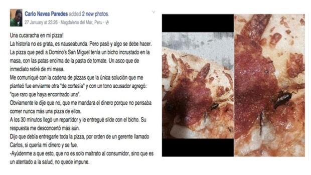 A imagem de Navea com o inseto na pizza tornou-se viral e foi parar na conta oficial da Domino's nos EUA  (Foto: BBC)